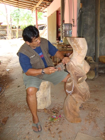 process of torso made from wood